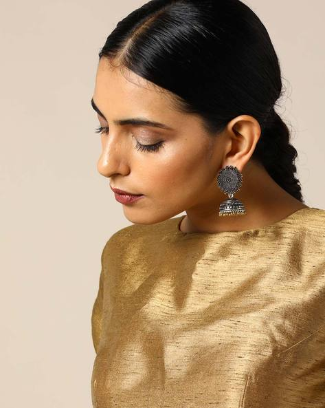 Two-Toned Brass Jhumka Earrings By Studio B40 ( Goldensilver ) - 460095198001