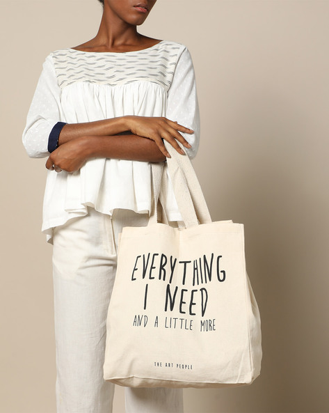 Multipurpose Cotton Canvas Tote Bag By The Art People ( White ) - 460179698001