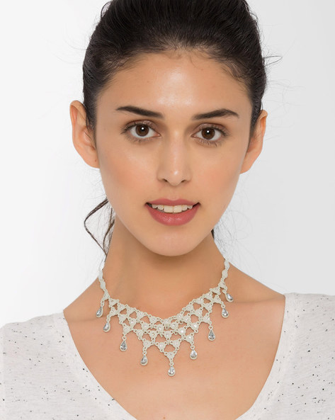 Stone-Studded Statement Necklace By AJIO ( Offwhite )