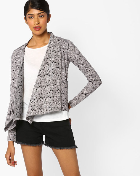 Printed Open-Front Shrug By CODE By Lifestyle ( Black )