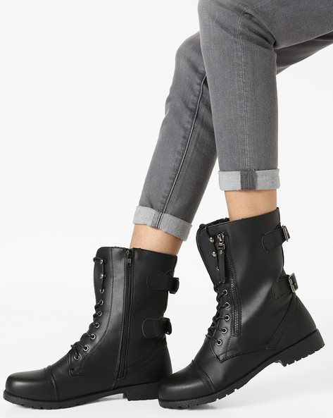 Cap-Toe Mid-Calf Boots With Buckles By Truffle Collection ( Black )
