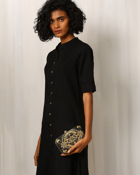 Gota Patti Embroidered Pure Raw Silk Clutch By Molcha ( Black )