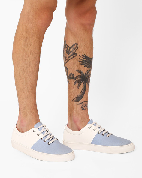 Colourblocked Lace-Up Sneakers By TURN ( Lightblue )