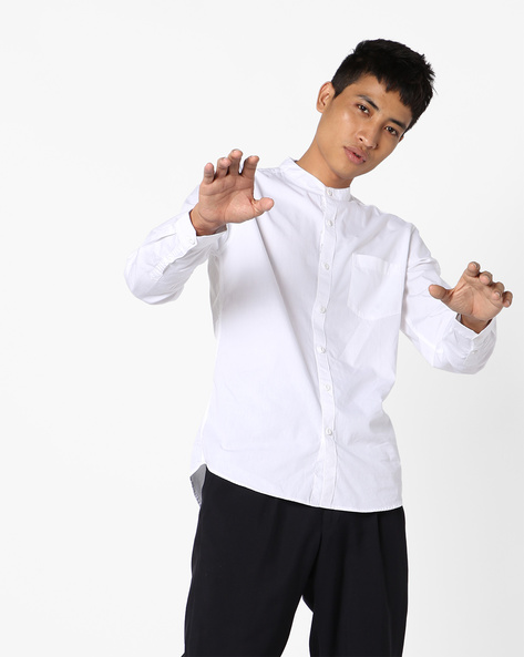 Cotton Shirt With Mandarin Collar By Highlander ( White )