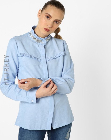 Cotton Shirt With Embellished Collar By TRENDYOL ( Blue )