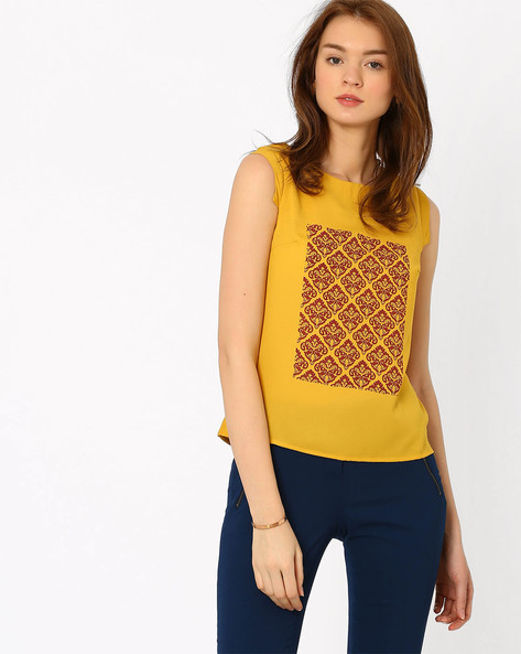 Printed Top With Cap Sleeves By AJIO ( Yellow )