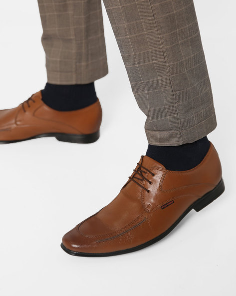 Low-Top Leather Derby Shoes By RED CHIEF ( Tan )
