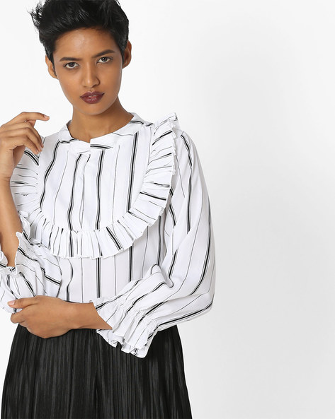 Striped Top With Ruffles By Rena Love ( White )