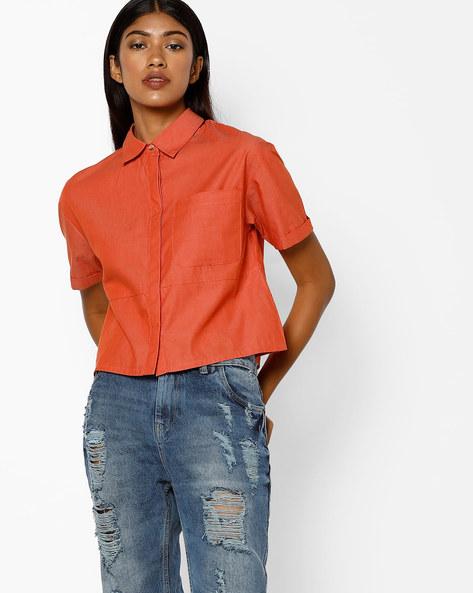 Boxy Shirt With Patch Pocket By AJIO ( Orange )