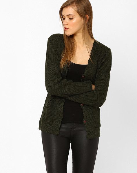 Knitted Cardigan With Patch Pockets By DUKE WOMEN'S ( Olive )