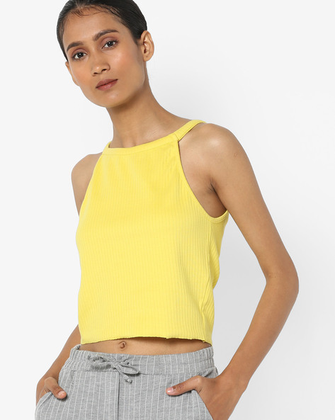 Round-Neck Strappy Top By AJIO ( Limegreen )