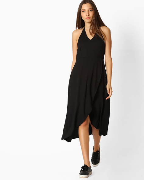 Halter-Neck Wrap Dress By Femella ( Black )