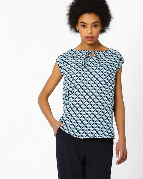 Printed Top With Keyhole Neckline By FIG ( Navy )