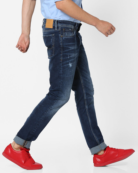 Mid-Washed Distressed Jeans By Jack & Jones ( Blue )