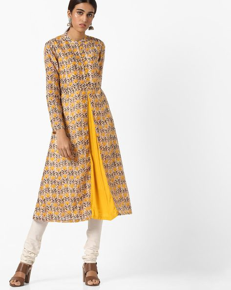 All-Over Floral Print Mandarin Kurta By AJIO ( Yellow )
