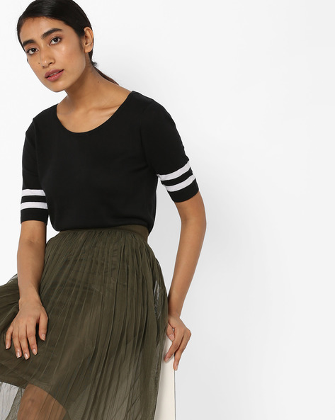 Crew-Neck Top With Contrast Taping By Fame Forever By Lifestyle ( Black )