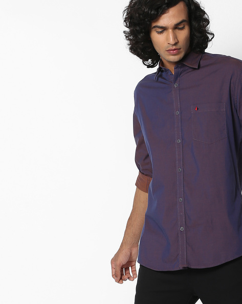 Slim Fit Cotton Shirt With Patch Pocket By British Club ( Blue )