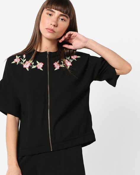 Zip-Front Jacket With Floral Embroidery By BOSSINI ( Black )