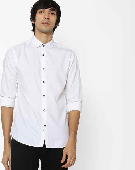 Slim Fit Shirt With Curved Hem By FLYING MACHINE ( White )