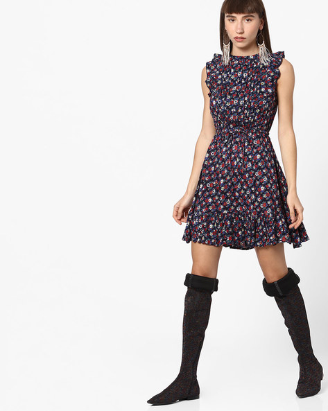 Floral Print Skater Dress With Ruffles By RIO ( Navy )