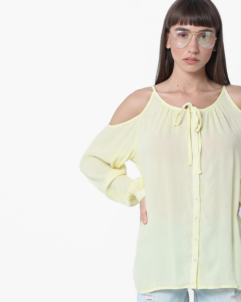 Cold-Shoulder Top With Tie-Up By DNMX ( Yellow )