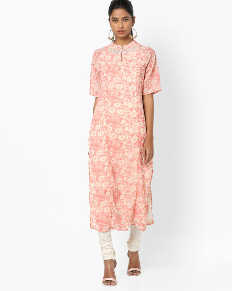 Floral Print Kurta With Embroidery By AJIO ( Coral )
