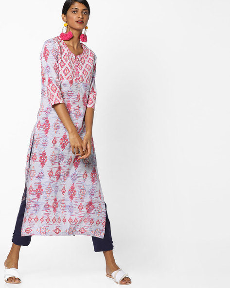 Printed Straight Kurta With Sequins By Rain & Rainbow ( Lilac )