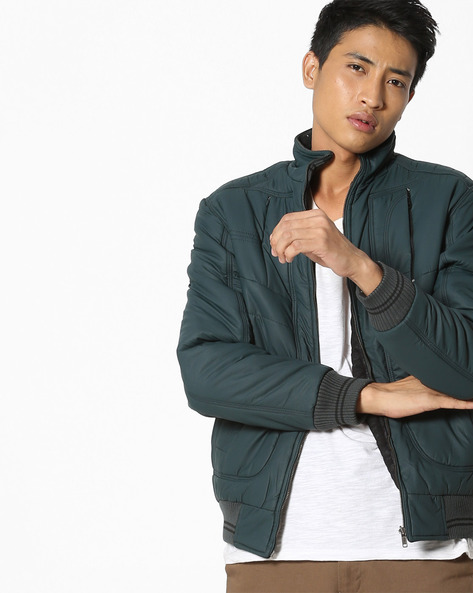 Reversible Bomber Jacket With Ribbed Hems By Fort Collins ( Yellow )