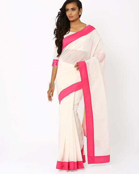 Saree With Contrast Border By AJIO ( White )