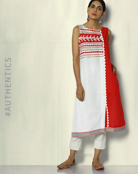 Handwoven Cotton Appliqué Hand Embroidered Kurta By Sadhna ( Multi )
