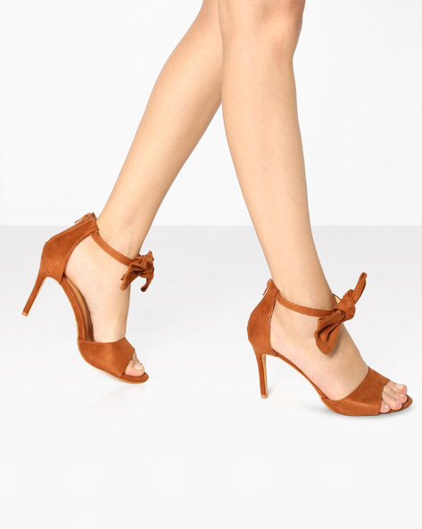 Peep-Toe Stilettos With Ankle-Strap Bow By AJIO ( Tan )