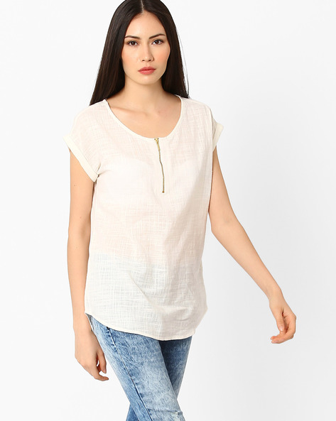 Cotton Top With Zip By Fame Forever By Lifestyle ( Offwhite )