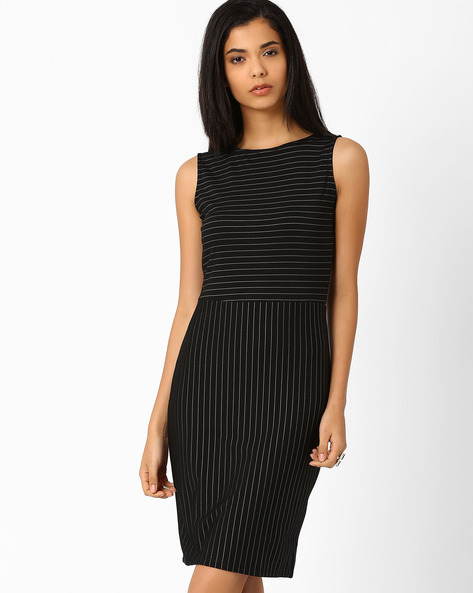 Striped Sheath Dress By Annabelle By Pantaloons ( Black )