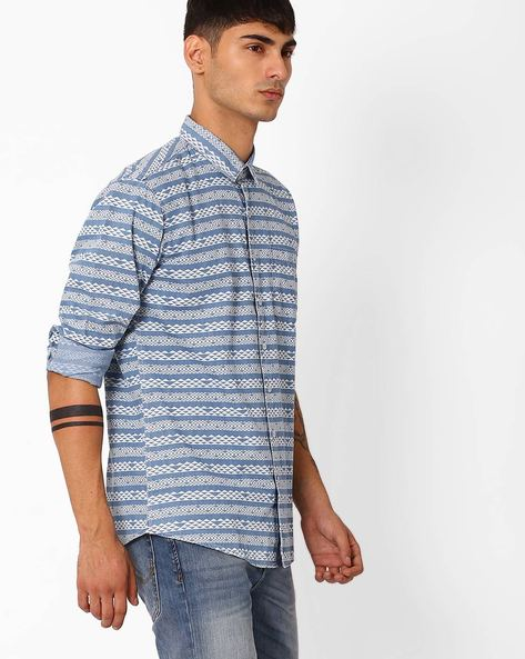 Geometric Print Slim Shirt By CRIMSOUNE CLUB ( Assorted )