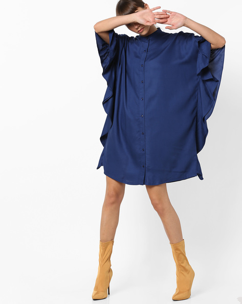 Shirt Tunic With Extended Bell Sleeves By AJIO ( Navy )