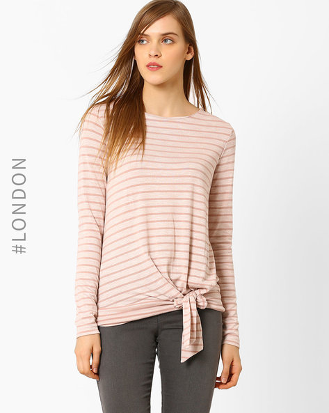 Striped Top With Tie-Up By Marks & Spencer ( Lightpink )