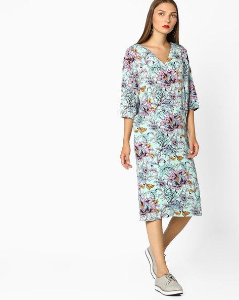 Floral Print Shift Dress By AJIO ( Navyblue )