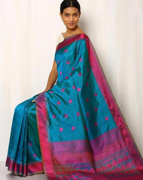 Handwoven Buti Pure Silk Resham Border Saree By Rudrakaashe-MSU ( Blue )
