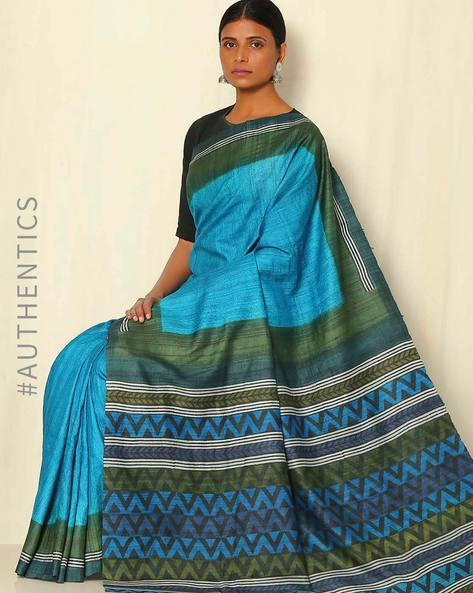 Handblock Print Pure Silk Desi Tussar Handloom Saree By Sujata Weaves And Prints ( Blue )