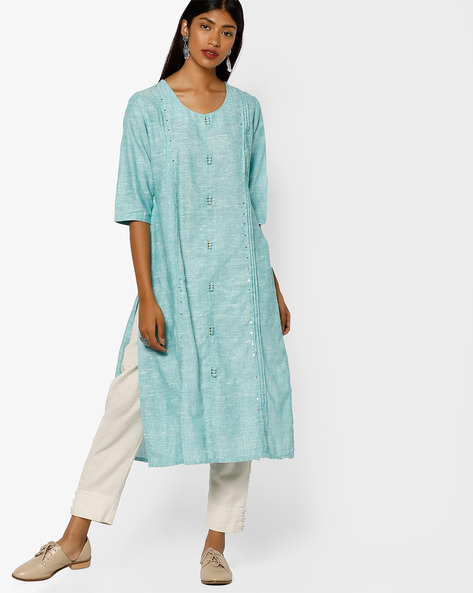 Cotton Straight Kurta With Pintucks By Shree ( Green )
