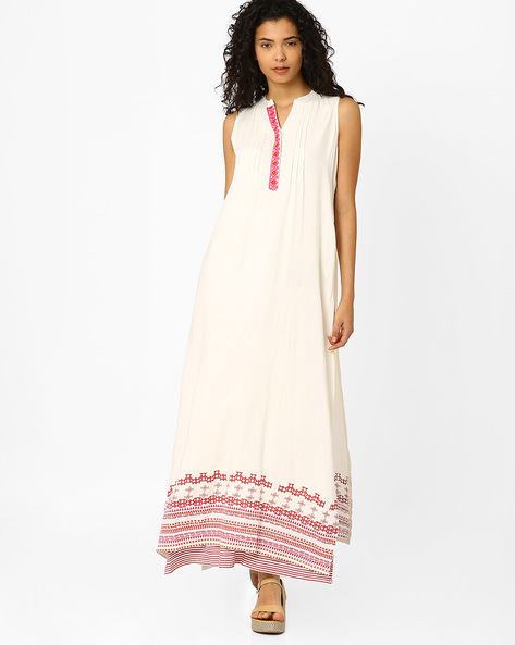 Maxi Dress With Layered Hemline By Global Desi ( Cream )