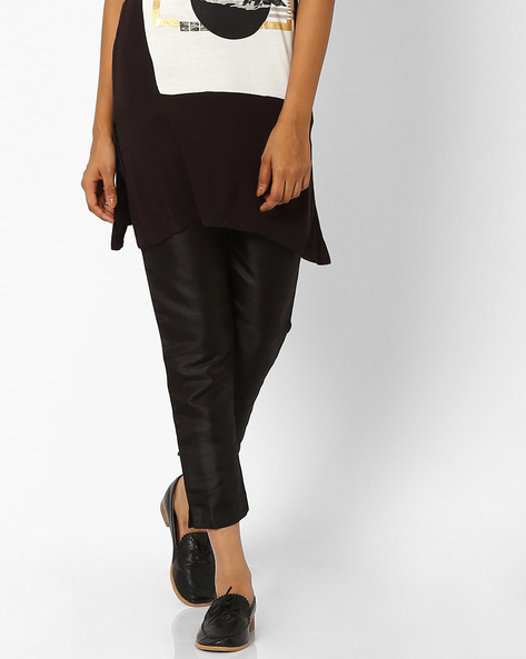 Relaxed Fit Ankle-Length Trousers By W ( Black )