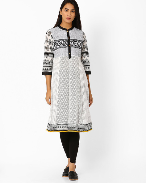 Printed Flared Kurta With Embroidery By AVAASA MIX N' MATCH ( White )
