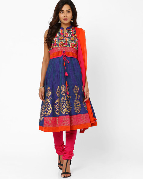 Embroidered Churidar Kurta With Dupatta By Trishaa By Pantaloons ( Blue )