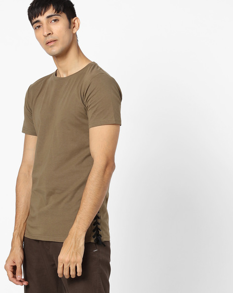 Crew-Neck T-shirt With Side Tie-Up By SHELTR ( Olive )