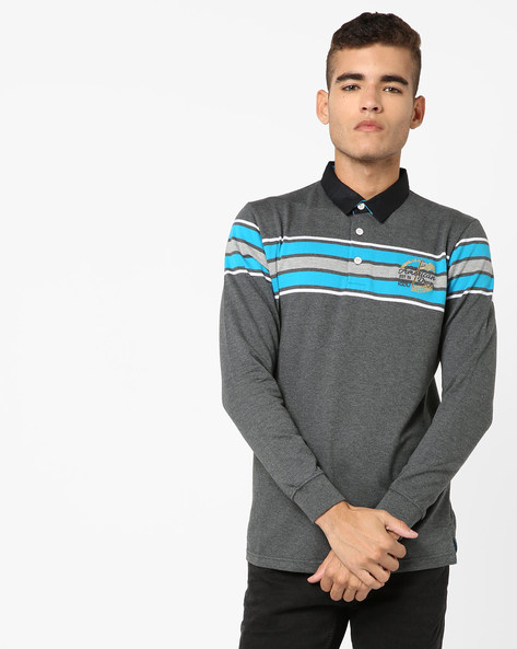 Slim Fit Striped Polo T-shirt By DUKE ( Medgrey )