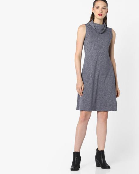Cowl-Neck Shift Dress By AJIO ( Greymelange )