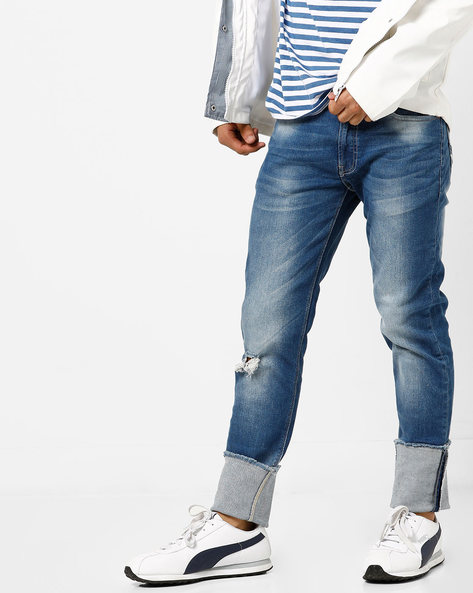 Mid-Washed Skinny Fit Distressed Jeans With Whiskers By UNITED COLORS OF BENETTON ( Blue )
