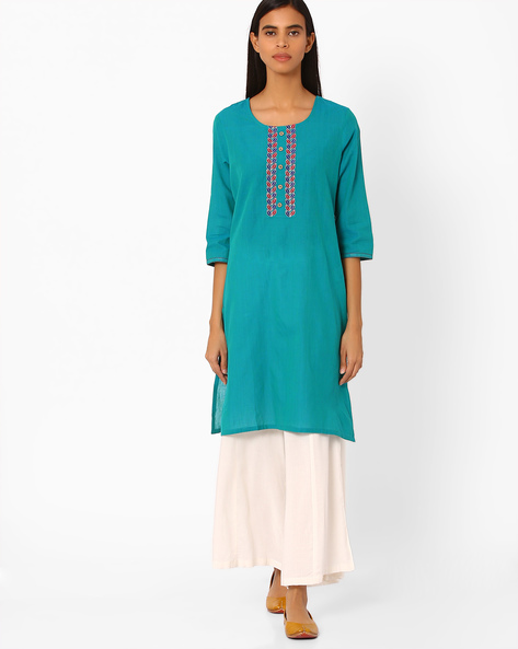 Straight Kurta With Embroidery By Rangmanch By Pantaloons ( Turquoise )