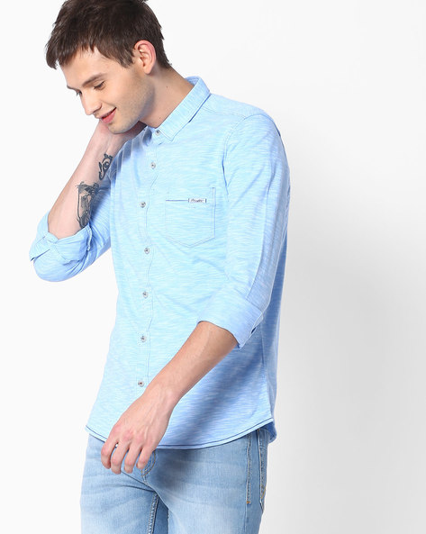 Slim Fit Shirt With Patch Pocket By MUFTI ( Lightblue )
